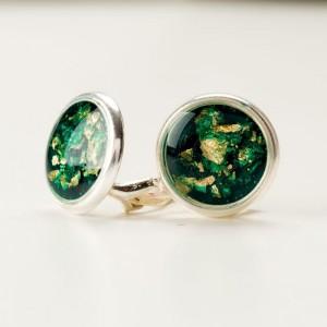 Klipsy na uszy butelkowa zieleń do zielonej sukienki, zielonych butów czy zielonej torebki 1