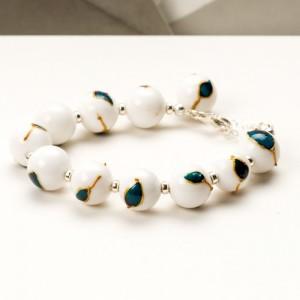 Bransoletki dla mamy-biały jadeit malowany ręcznie i srebro