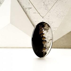 Naszyjnik z żywicy ręcznie robiony z prawdziwą rośliną 2