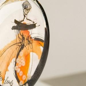 Naszyjnik artystyczny ręcznie malowany pomarańczowy