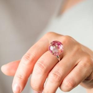 Pierścionek regulowany z prawdziwymi różowymi wrzosami 1