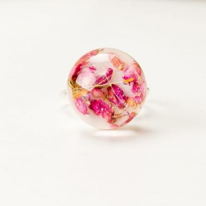 Pierścionek z różowym oczkiem z prawdziwymi wrzosami  2