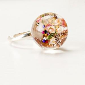 Pierścionek srebrny z drewienkiem, koralikami i prawdziwymi wrzosami 1