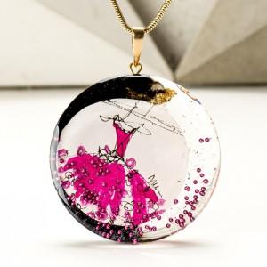 Różowy pozłacany naszyjnik artystyczny ręcznie malowany 1