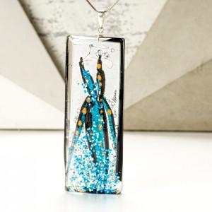 Biżuteria artystyczna niebieski naszyjnik ręcznie malowany