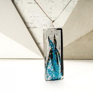 Biżuteria artystyczna niebieski naszyjnik malowany 2