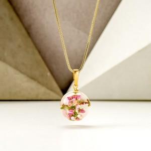 Naszyjnik z zawieszkami wrzos różowy w kulce zawieszki 1