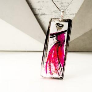 Naszyjnik różowy ręcznie malowany 2