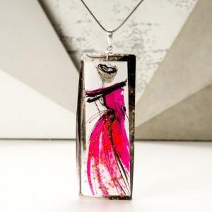 Naszyjnik różowy ręcznie malowany