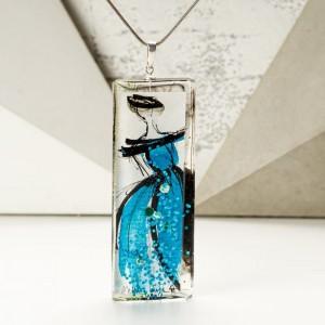 Naszyjnik hand made z ręcznie malowaną prostokątną niebieską zawieszką 5