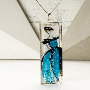 Naszyjnik hand made z ręcznie malowaną prostokątną niebieską zawieszką 1