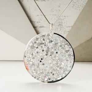 Naszyjnik srebrny z grawerem ręcznie malowany, artystyczny z pracowni KROLIKOVSKA  1
