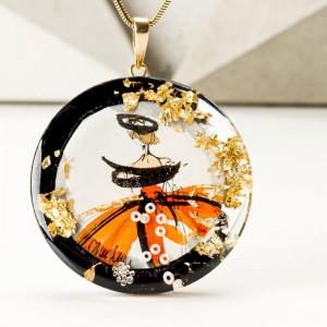 Pomarańczowy naszyjnik artystyczny ręcznie malowany 1