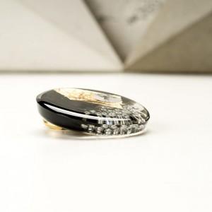 Elegancka broszka artystyczna czarno złota 2