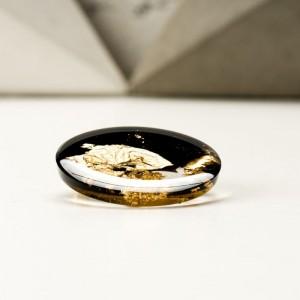 Broszka do sukienki okrągła czarno złota  2