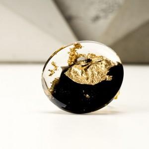 Broszka do sukienki okrągła czarno złota  1