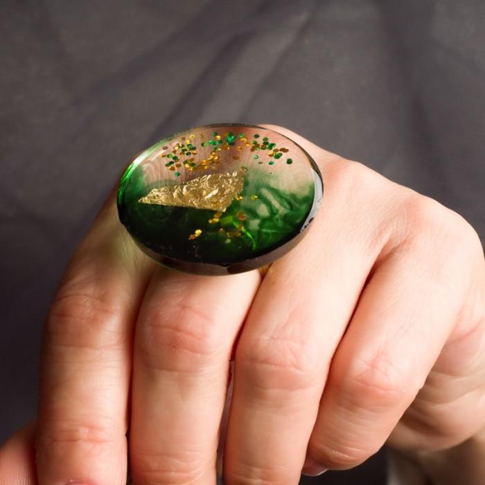 Biżuteria artystyczna pierścionek Zieleń